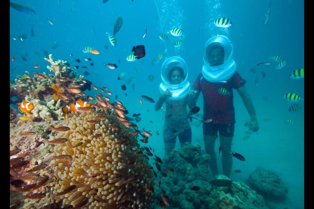 A couple exploring the corals through a sea walk
