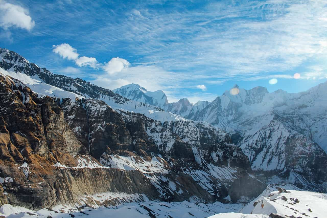The unending deep gorges and valleys of the snow capped Himalayas