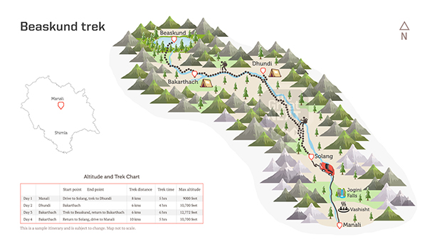 See the trekking route map for The Beaskund Trek