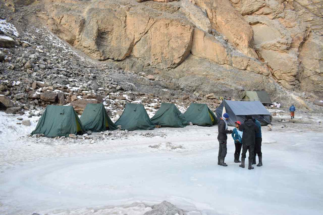 Campsite on a snowy ground