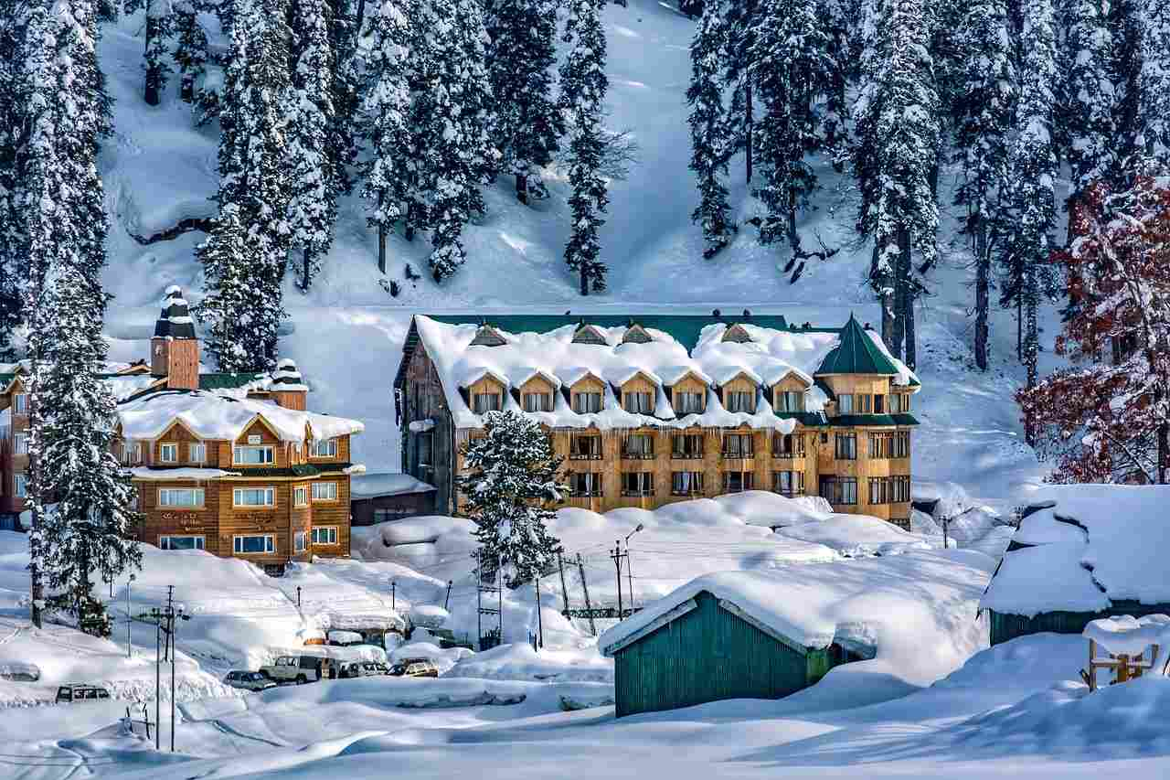 A snow blanketed hotel