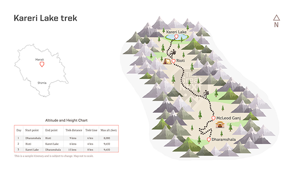 See the trekking route map for the Kareri Lake trek.