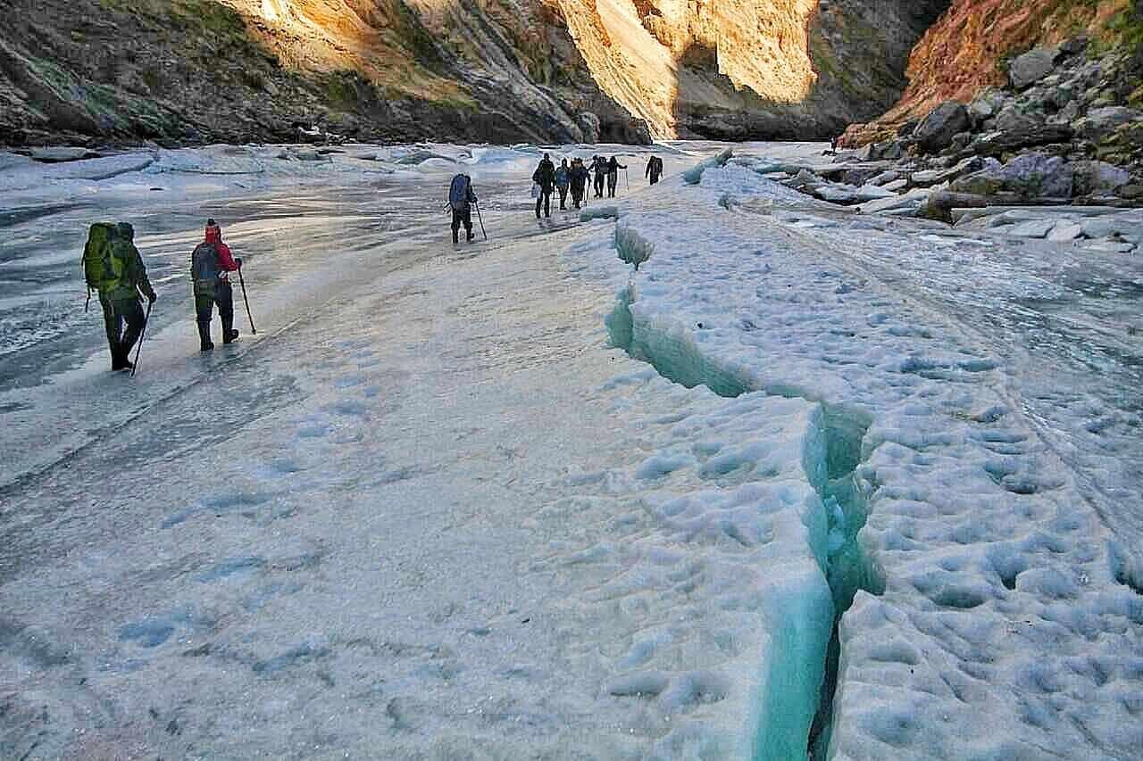Trekkers walking across a frozen river