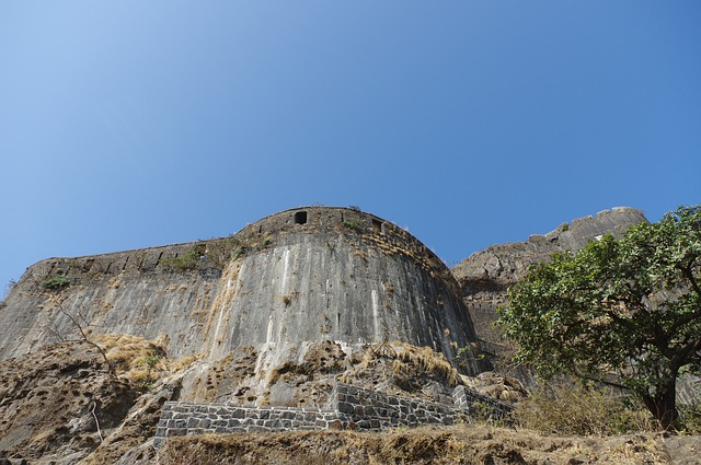 The stone wall of a fort.