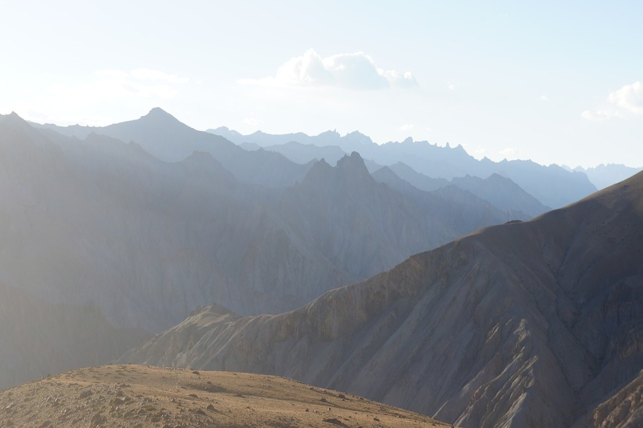 Unending range of mountain peaks