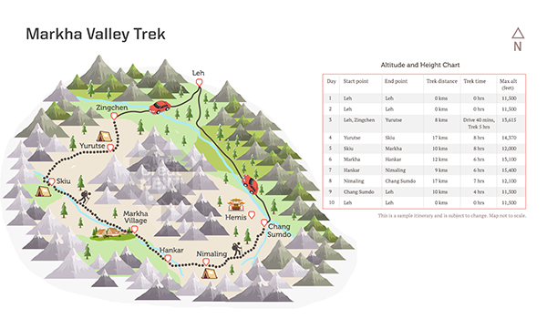 See the trekking route map for the Markha Valley trek.
