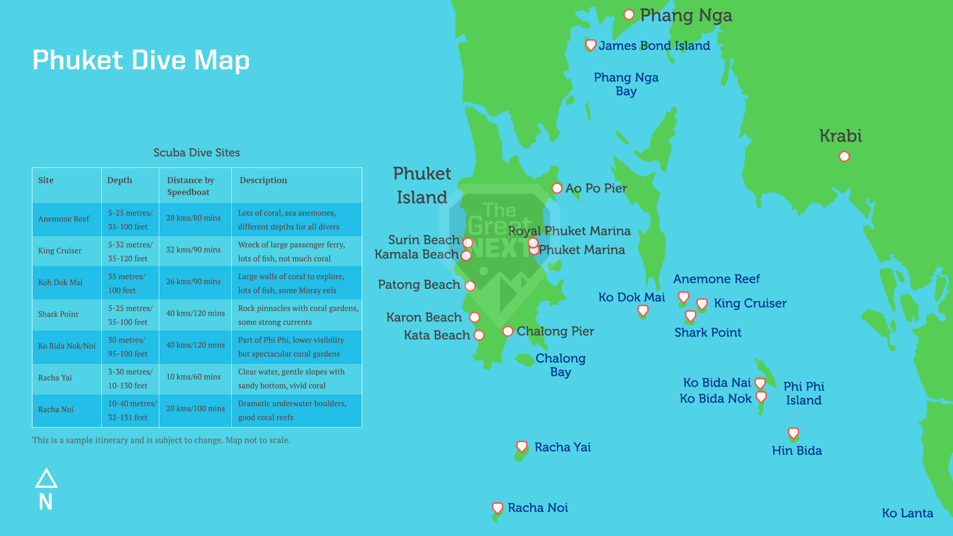 See all the diving spots in Phuket Map of scuba diving spots in Phuket
