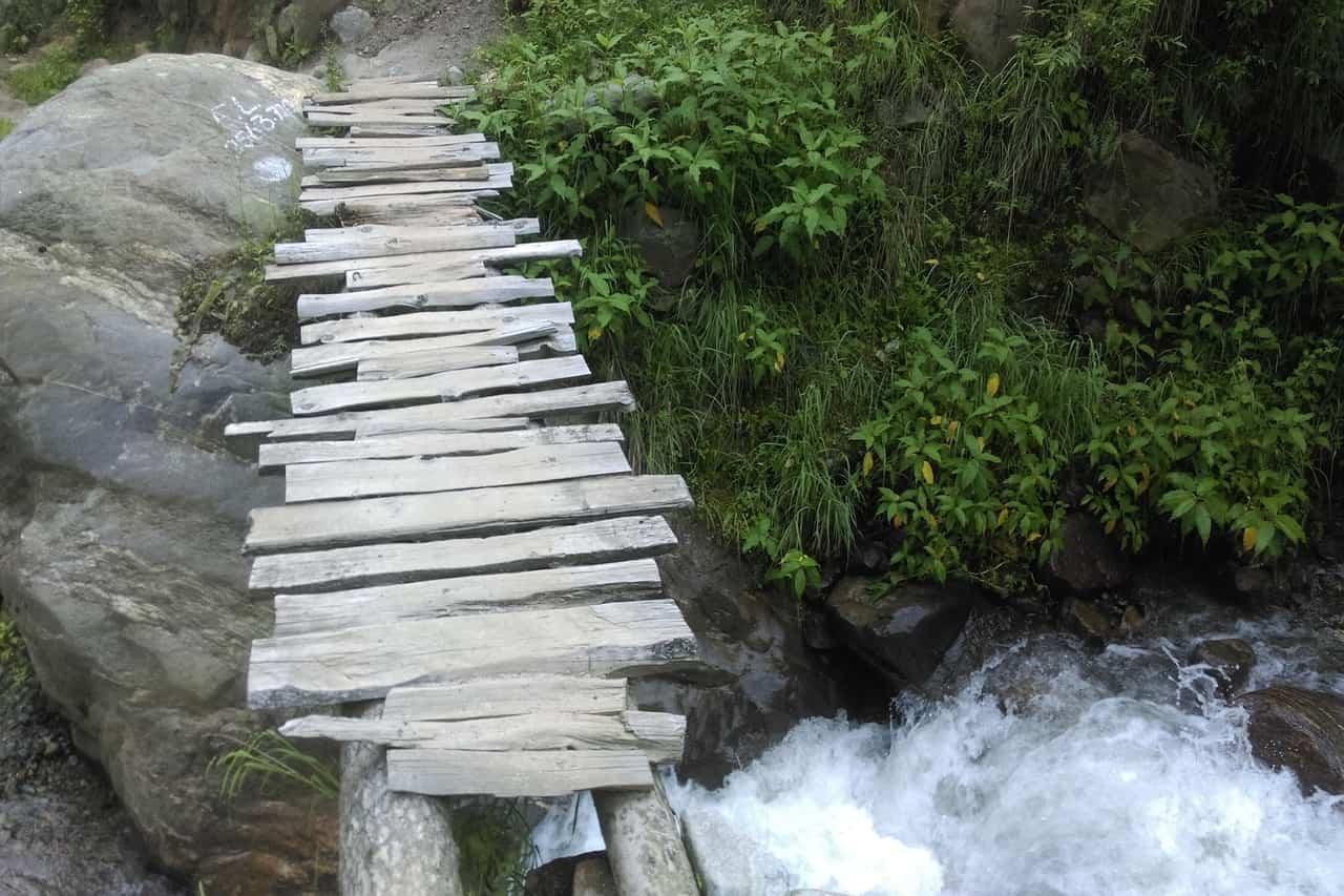 A makeshift river crossing bridge