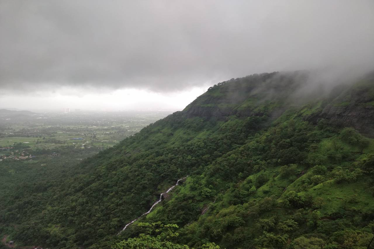 A dense green valley rises into the clouds