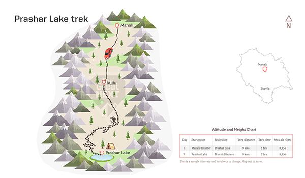 See the trekking route map for the Prashar Lake trek.