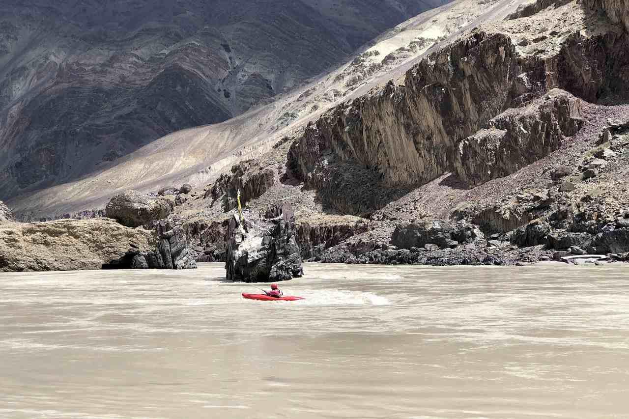 Campsite across a frozen river bank