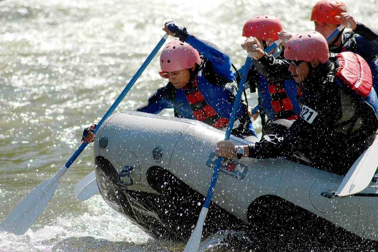 A group of rafters navigating a river