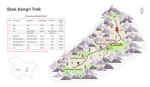 See the trekking route map for the Stok Kangri trek.
