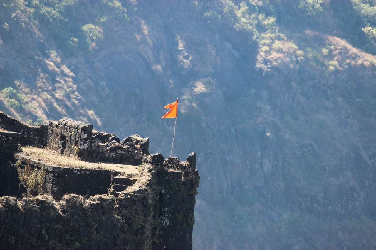 A flag waving on a fort.
