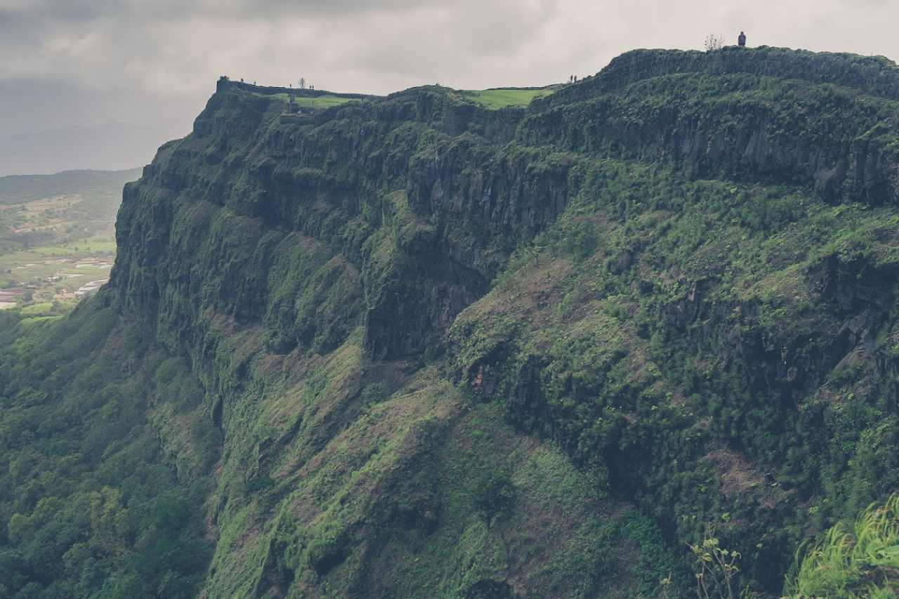 A massive cliff-side carpeted in green.