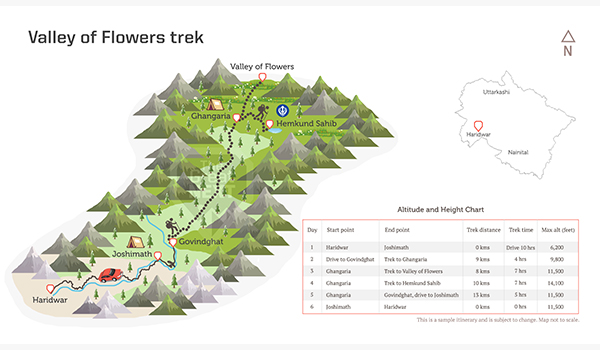 See the trekking route map for the Chopta-Chandrashila trek in Uttarakhand.