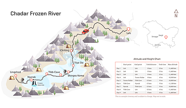 See the trekking route map for the frozen Zanskar trek