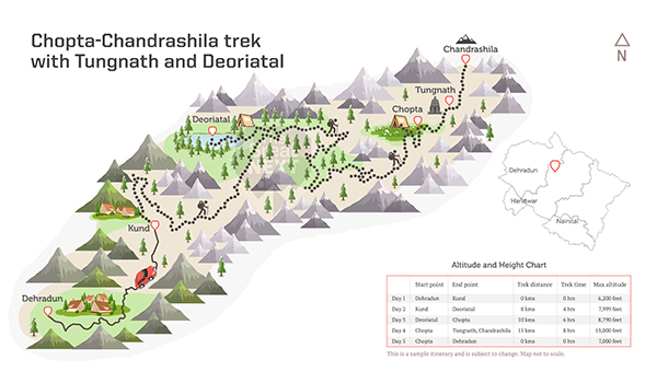 See the trekking route map for the Chopta Chandrashila