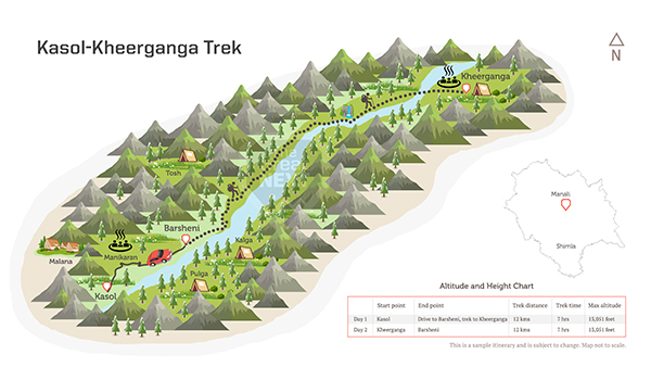 See the trekking route map for the Kasol-Kheerganga trek