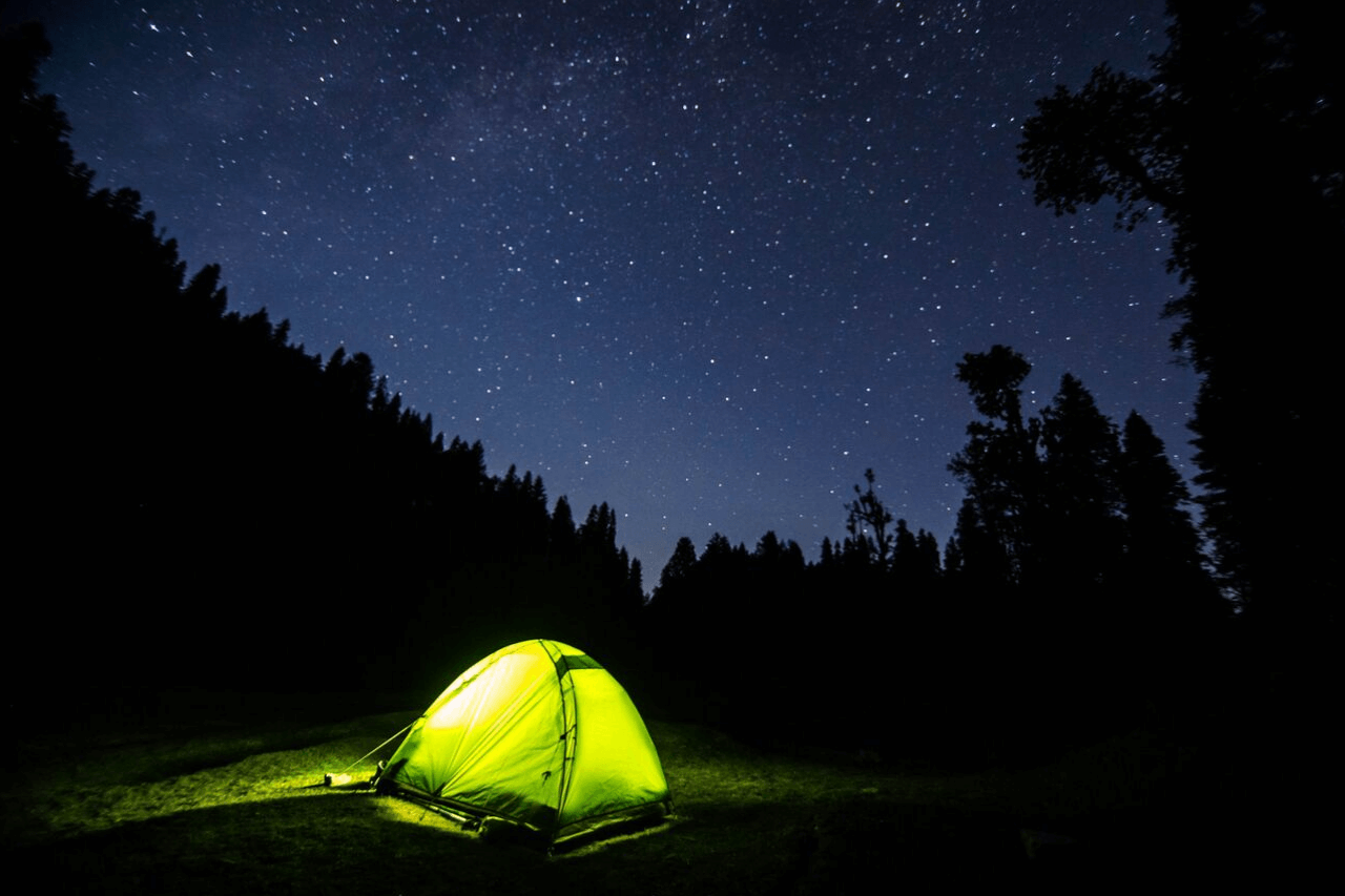 A single illuminated tent sits in the middle of dark forest at night.