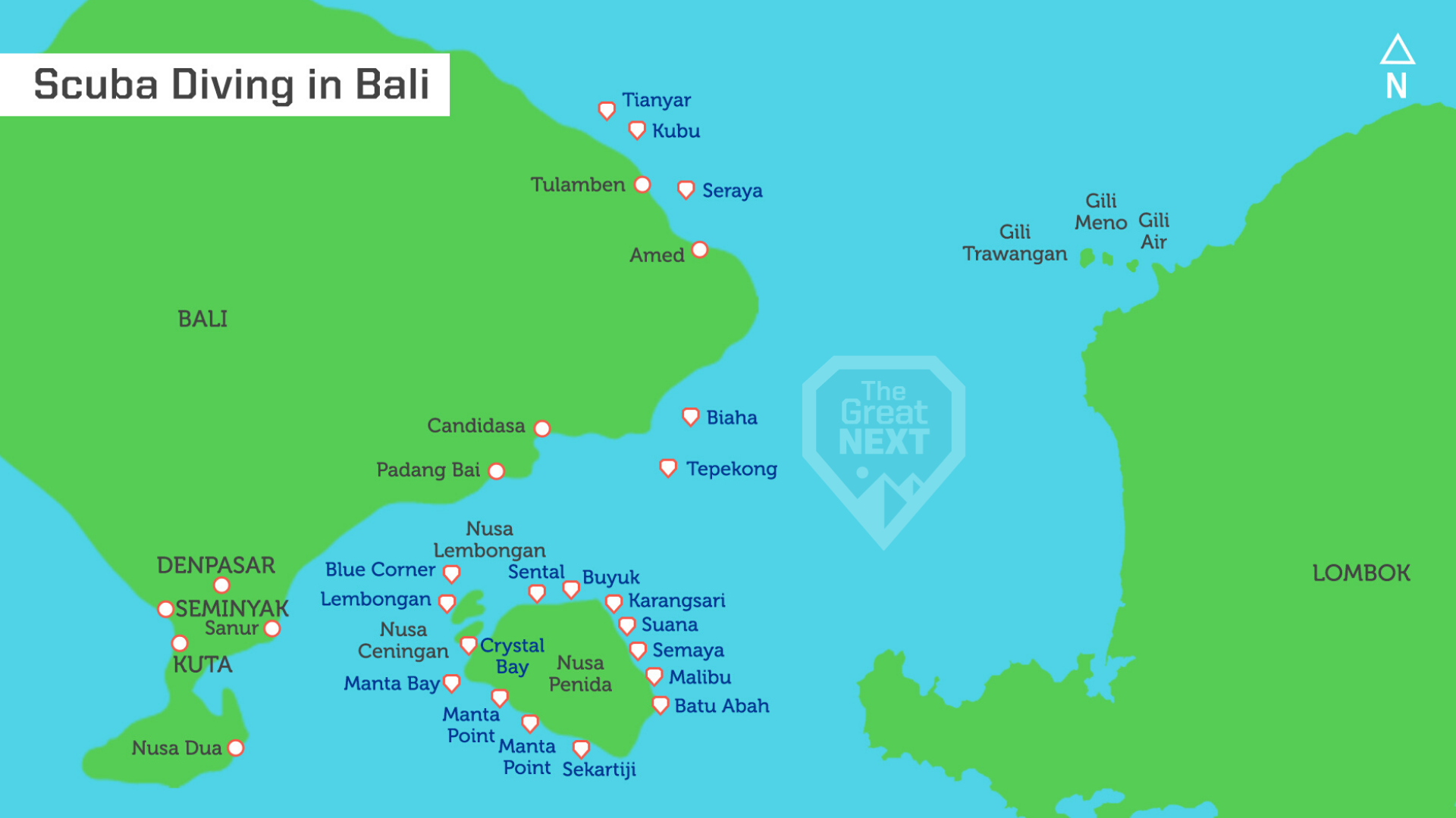 Map of Bali with most famous dive sites marked on it
