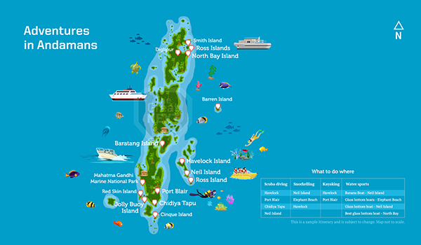 Map of Andaman Islands with activities like scuba marked on it