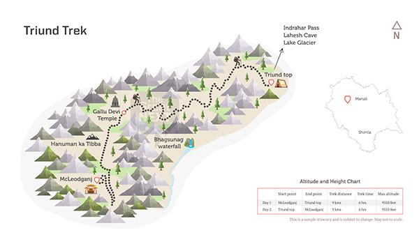 See the trekking route map for the Triund trek