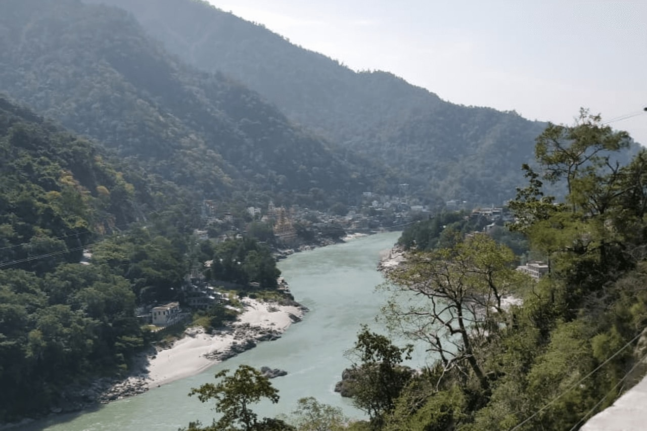 View of river winding through mountains