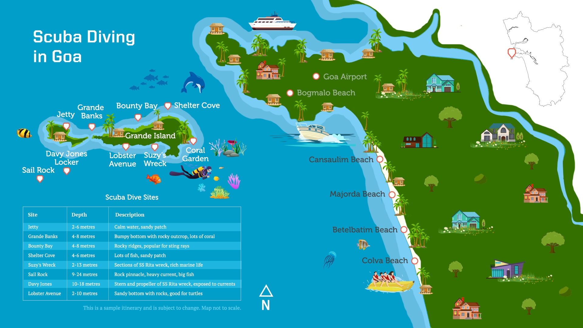 Map of scuba diving spots at Grande Island in Goa