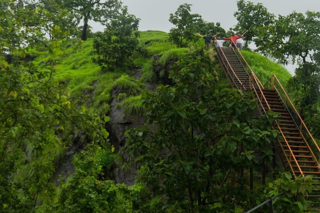 A happy trekker climbs an iron ladder to the top of a hill.