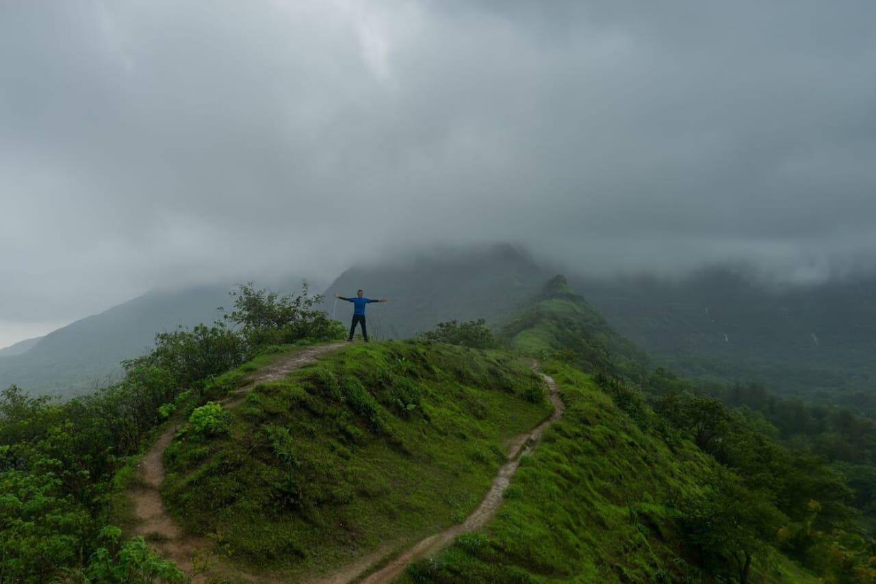Solo trekker stands atop a green misty hill